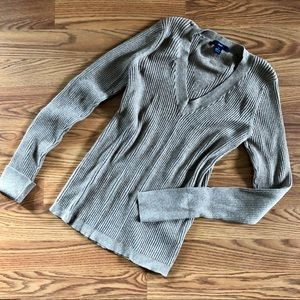 GAP Cotton Ribbed V-neck Sweater